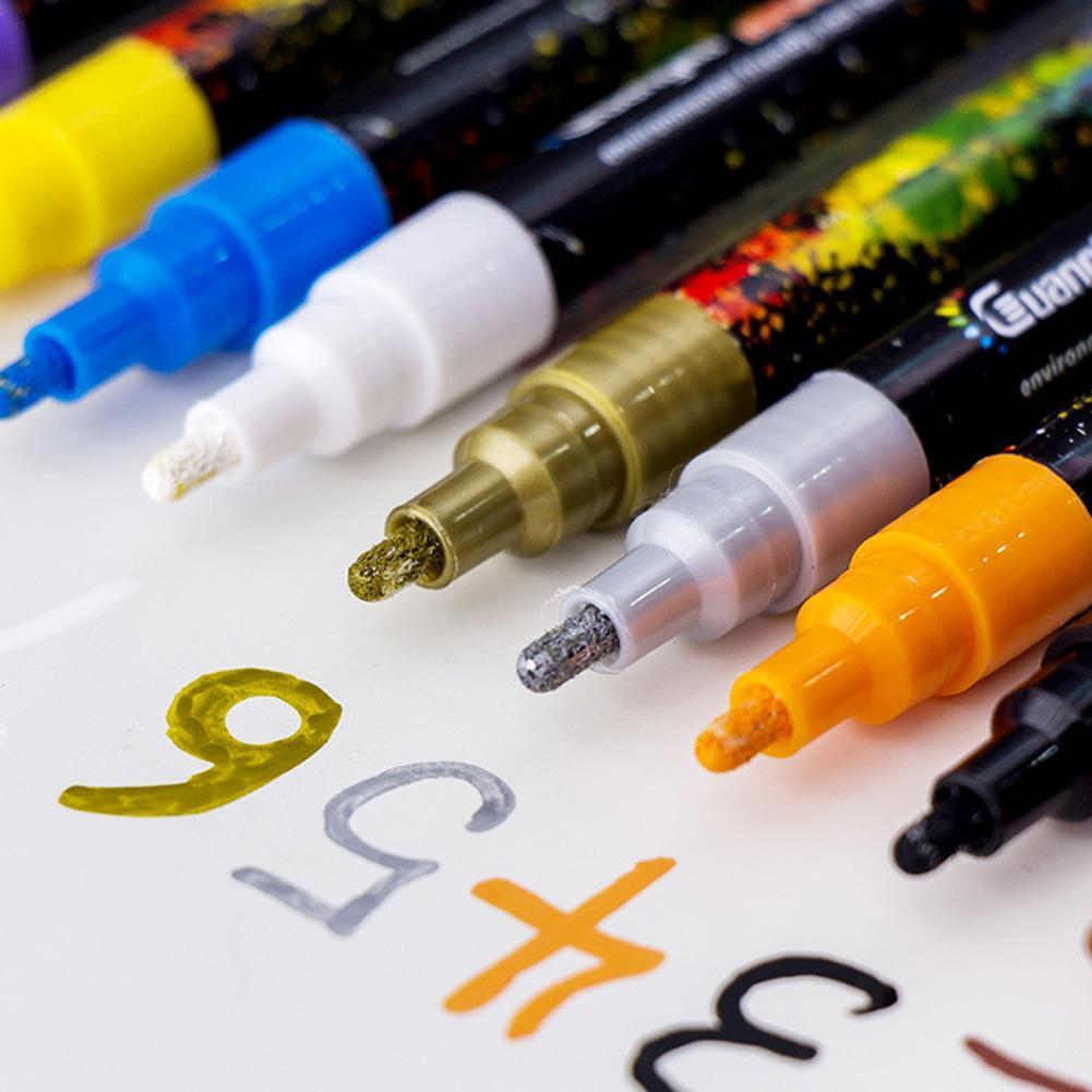 12Colors/Set 0.2mm Acrylic Paint Marker Pen For Ceramic Rock Glass Porcelain Mug Wood Fabric Canvas Painting Art Supplies