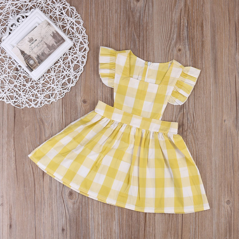 2017 Cute Summer Kids Baby Girls Plaids Ruffles Dress Princess Sleeveless Sundress Baby Girl Clothes Dress 1-6Y ems dhl free shipping toddler little girl s 2017 princess ruffles layers sleeveless lace dress summer style suspender