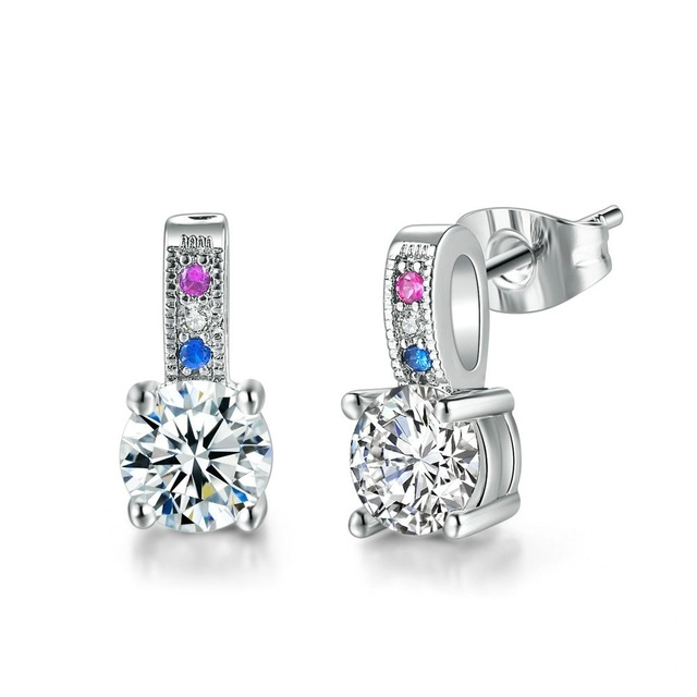 7c48a5bc9a392 US $1.72 36% OFF Aliexpress.com : Buy TRACYSWING Stud Earring For Women  Elegant Style Blue Pink Four Claws Cubic Zirconia Party Gift Fashion  Jewelry ...