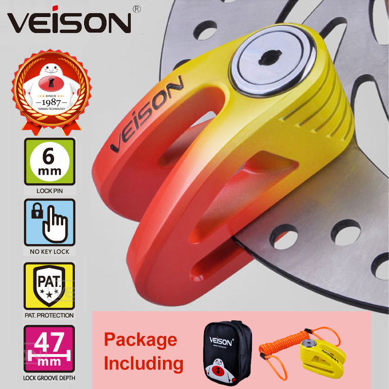 VEISON Moto Stainless Scooter Motorcycle/Bike Disc <font><b>Lock</b></font> 6mm Pin Motorbike/MTB Brake <font><b>Lock</b></font> + Carry Pouch + Reminder Cable +3 Keys
