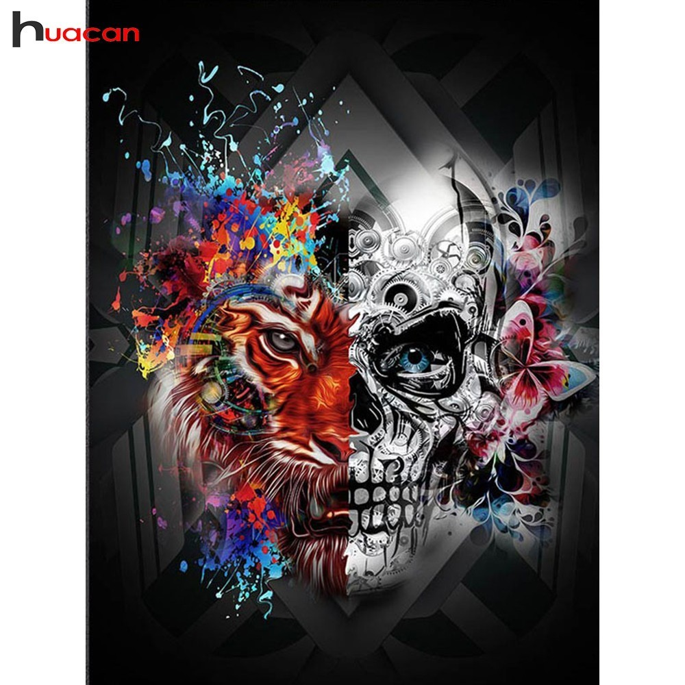 HUACAN 5D DIY Diamond Painting Tiger Diamond Mosaic Skeleton Picture Of Rhinestones Diamond Embroidery Cross Stitch Home Decor