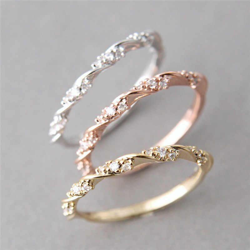 คุณภาพเงินทองกุหลาบสีบิดคลาสสิก Cubic เซอร์โคเนียแหวนแต่งงานผู้หญิงออสเตรียคริสตัลแหวนของขวัญ D3