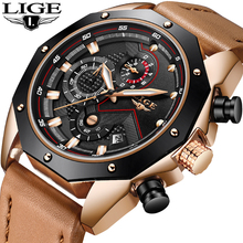 LIGE Mens Watches Top Brand Luxury Quartz Gold Watch Men Casual Leather Military