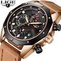 LIGE メンズ腕時計トップブランドの高級クォーツ腕時計メンズカジュアル革軍事防水スポーツ腕時計レロジオ Masculino