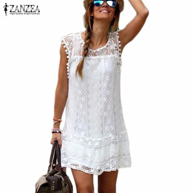 Zanzea Summer Dress 2019 Sexy Women Casual Sleeveless Beach Short Dress Tassel Solid White Mini Lace Dress Vestidos Plus Size