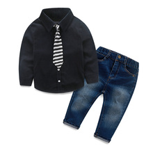Fashion Childrens clothing set autumn spring Baby Boys child denim suit cotton long sleeve dress shirts+trousers jeans+tie