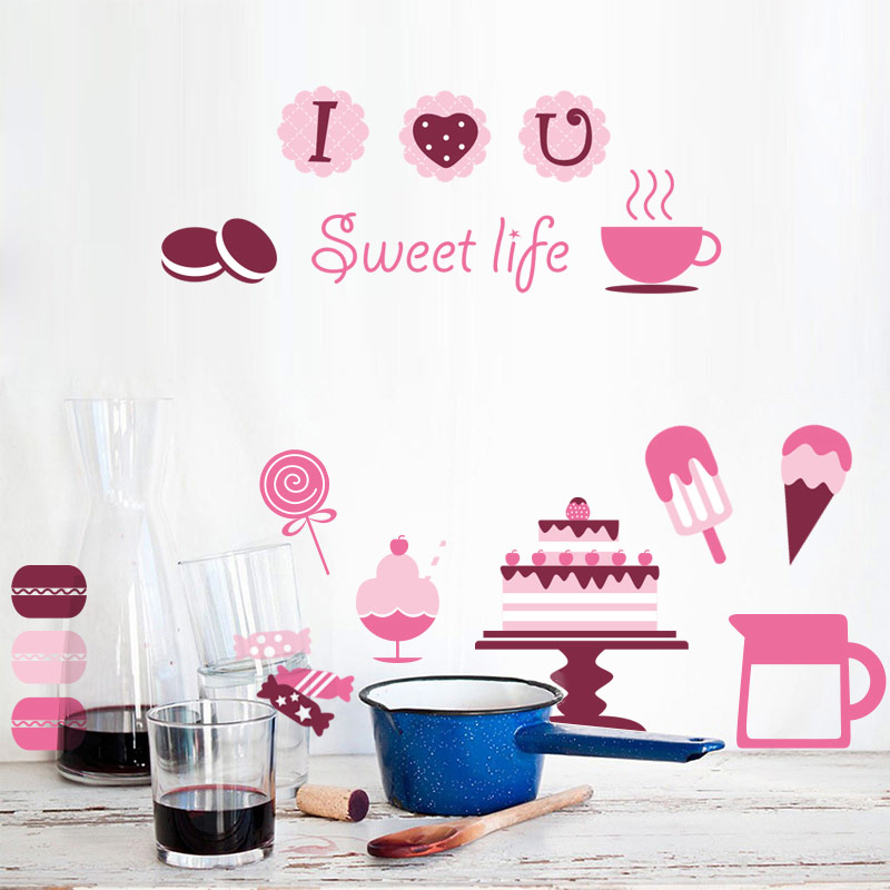 SHIJUEHEZI] PVC Material Wall Art Kitchen Sticker Donuts Cookie ...
