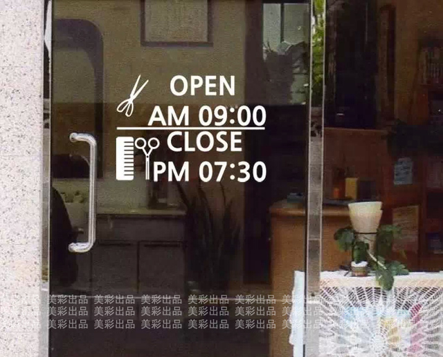 S16 hairdressers shop window decoration wall sticker decals barber shops cosmetics shop opening hours