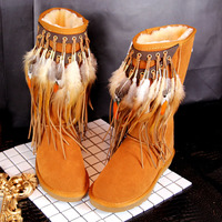 New Winter Folk Style Long Feather Tassel Retro Cow Suede Plush Snow Boots Shoes Women Handmade Mid Calf Warm Slip on Boots