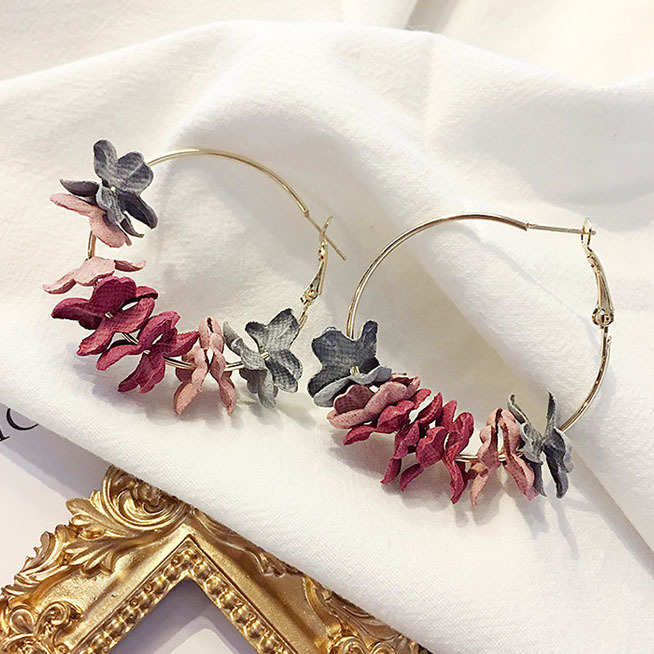 Seblasy Version Of The Popular Fashion Temperament Jewelry Wild Net Red Cloth Flower Long Earrings Statement Earring