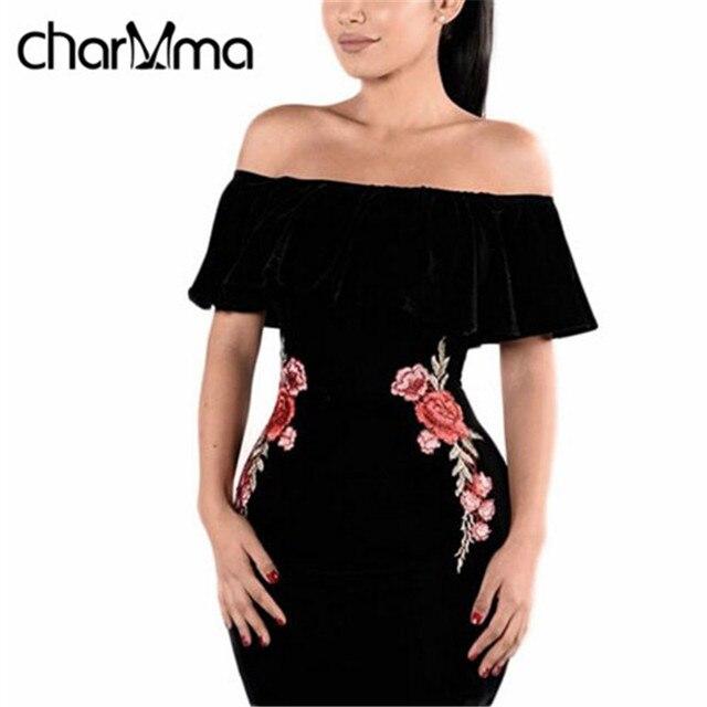 CharmMa Весна Лето Старинные Цветок Вышивка Оболочка Bodycon Платье С Плеча Вечер Dress Ladies Халат Черный