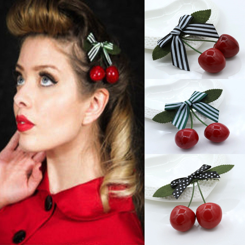Girls' Baby Clothing 1pcs Hot Sale Hair Accessory Kawaii Lovely Red Cherry Bow Hair Clip For Pinup Girls Retro Vintage Rockabilly Hair Band Attractive Designs;