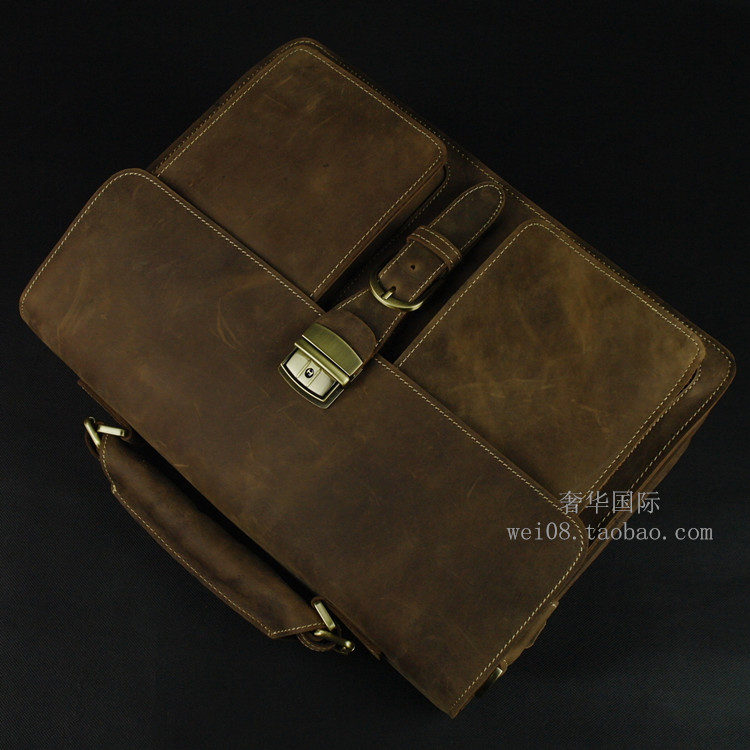 LEXEB Brand Vintage Classic Men's Briefcase Genuine Natural Leather Business Bags 15″ Laptop High Quality Messenger Bag Brown