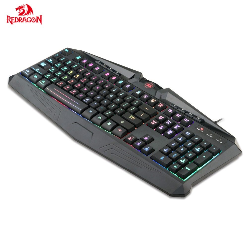 Redragon K503 Gaming Keyboard 104 Keys RGB LED Backlit Ergonomic Design Full Size Membrane Keyboard цена