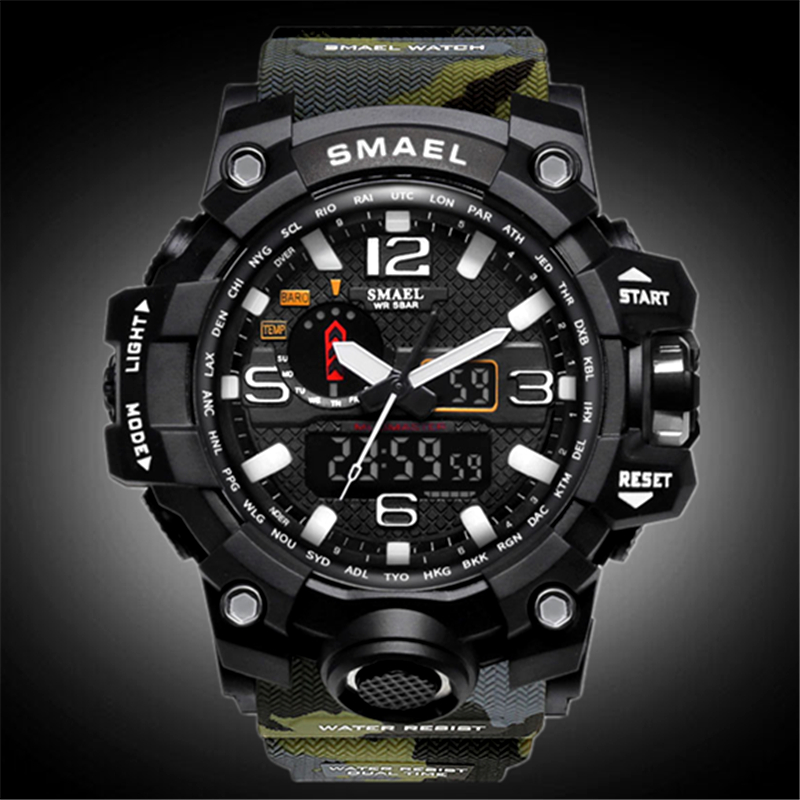 SMAEL Mens Watches Analog Quartz Watch Men Sport Military Clock Camouflage Strap LED Digital Wristwatch Male Relogio Masculino smael 1708b