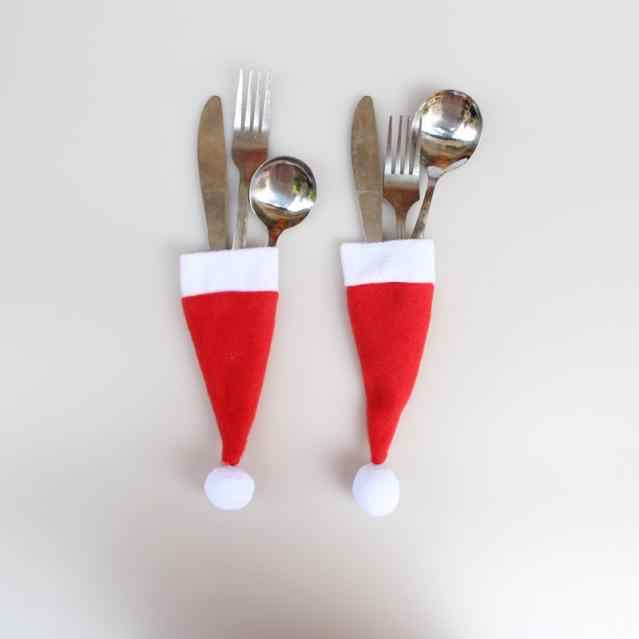 Hot Sale 2019 1PC Christmas Decorative tableware Knife Fork Set Lovely Christmas Hat Storage Tool enfeites de natal Gift#h