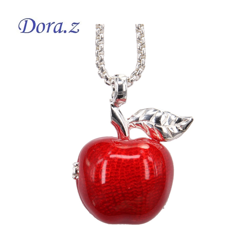 thomas style locket openable red apple pendant necklaces