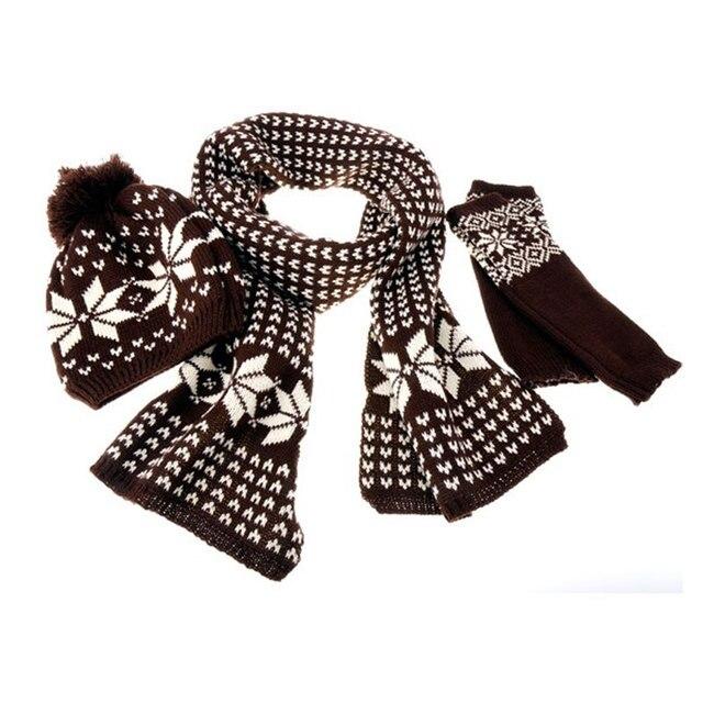 Mujer bufandas calientes del copo de nieve patrón de punto de lana ...