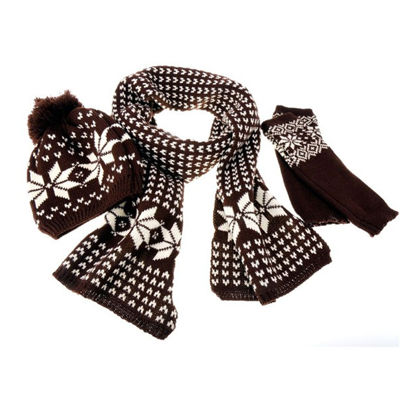 Winter Outdoor Woman Warm Scarves Snowflake Pattern Wool Knitted Hats Gloves Woman Hats 3 Pieces Hat + Scarf + Gloves/set