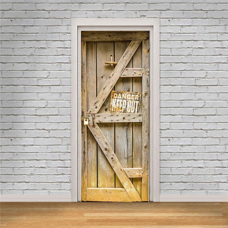 Image 4 - Book Shelf Bookcase Vintage Wood Door Wall Door Stickers For Kids Room Balcony Scene Sticker Bathroom Toilet-in Door Stickers from Home & Garden