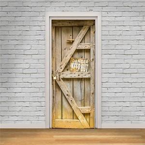 Image 4 - Book Shelf Bookcase Vintage Wood Door Wall Door Stickers For Kids Room Balcony Scene Sticker Bathroom Toilet
