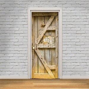 Image 4 - Estantería de libros, estantería Vintage de madera para puerta, pegatinas de puerta y pared para habitación de niños, pegatina para escena de balcón, Baño