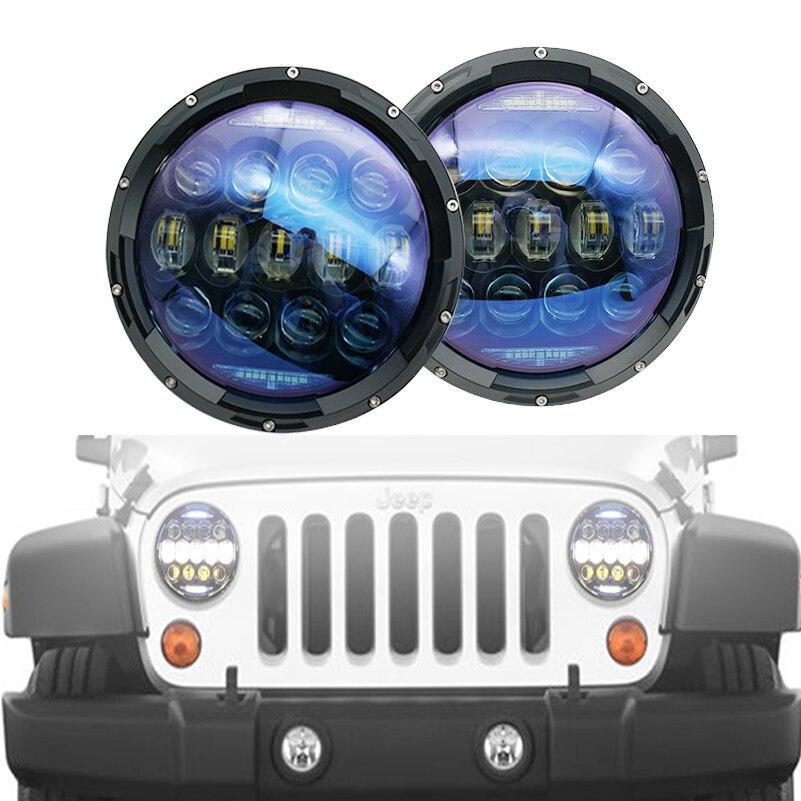 For Jeep TJ JK 7 Inch 130W led headlights 130W Hi/Low beam DRL Turn signal lights for lada niva 4x4 TJ JK Off-road Driving Light
