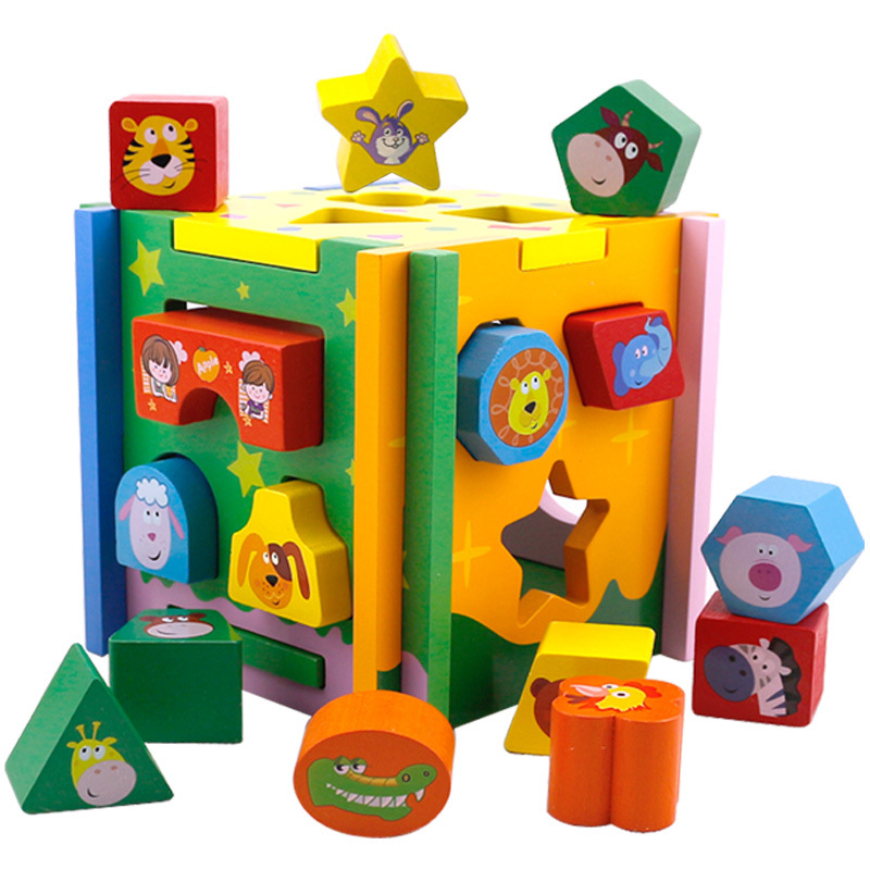Jouets pour enfants enfant en bois jouet Cube forme géométrique apprendre bébé enfant en bas âge jeu éducatif préscolaire jouet reconnaissance Match Puzzle