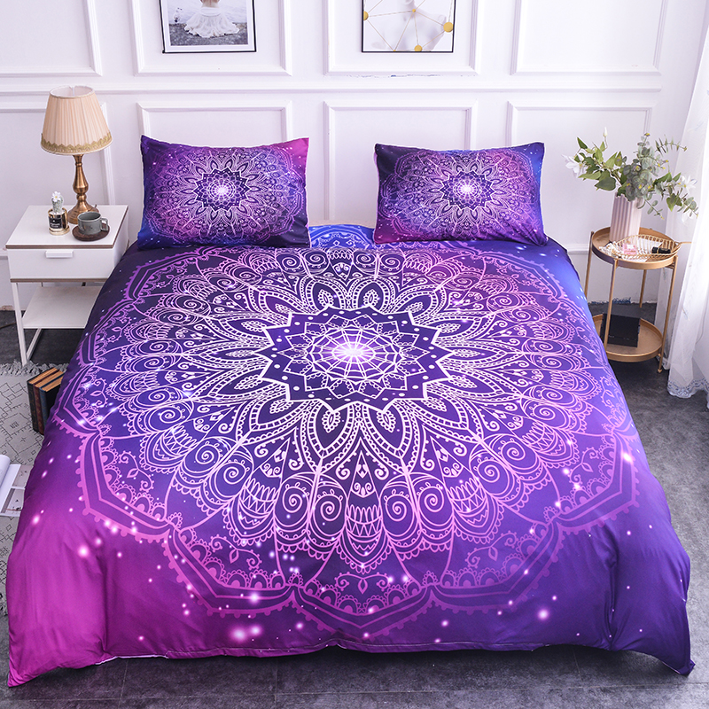 ZEIMON Bohemia Mandala Pattern Bedding Set Single Size Duvet Cover And Pillowcase Microfiber Home Decor Boho Purple Bedspread