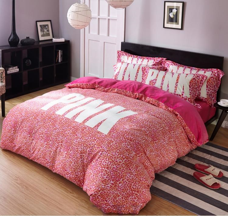 Winter VS Secret Pink Soft Animal Print Fashion Velvet Victoria Comforter Bedding Set Bed Sheets 4PCS Duvet Cover Set Bedspread ...