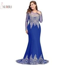 2019 Mermaid Plus Size Long Prom Dresses Sleeve Applique Beading Gown Vestido de festa