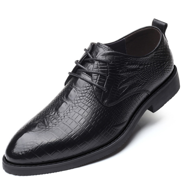 8136 High-grade Business Dress Shoes Laced with Casual Leather ShoeTop Layer Cowhide Crocodile Wedding Men's