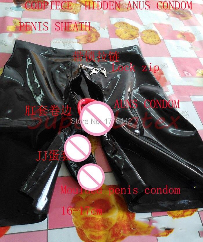 Latex Shorts With Lock Zip Codpiece Hidden Two Condom Customized