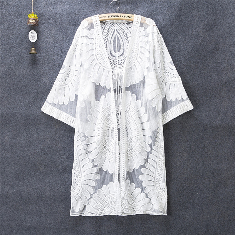 2019 Embroidered White Swimsuit Cover Up See-through Lace Bikini Cover Up Women De Plage Beach Cardigan Bathing Suit Cover Up
