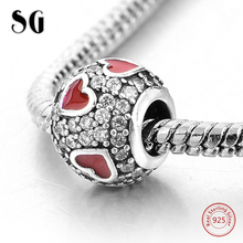 925 Sterling Silver Red Enamel Love Heart Cubic Zirconia Fit Authentic pandora Charms Bracelet Beads For Women Fashion Jewelry 2018 new 925 sterling silver red enamel bikini charms beads fit authentic pandora bracelet charms beads jewelry for women gifts