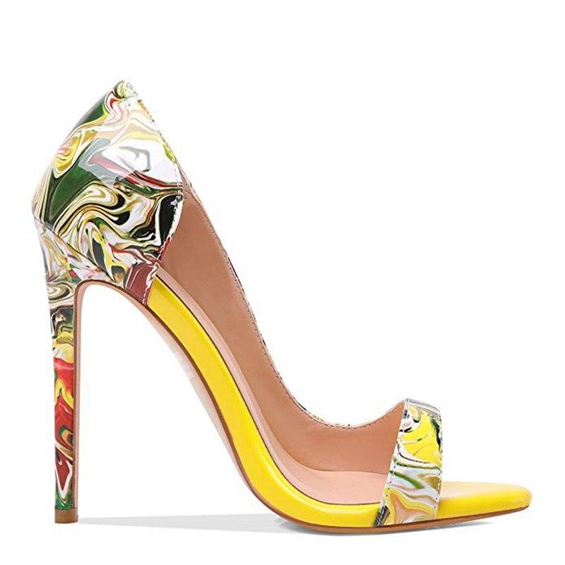 Vestido Bombas Colorido Mujeres Zapatos Del Las Dedo Tacones Alta Abierta 12 Gran Asileto Yellow Tacón E113 Cubierta 45 Delgada De Calidad Pie Oficina Verano Tamaño P7qwfp