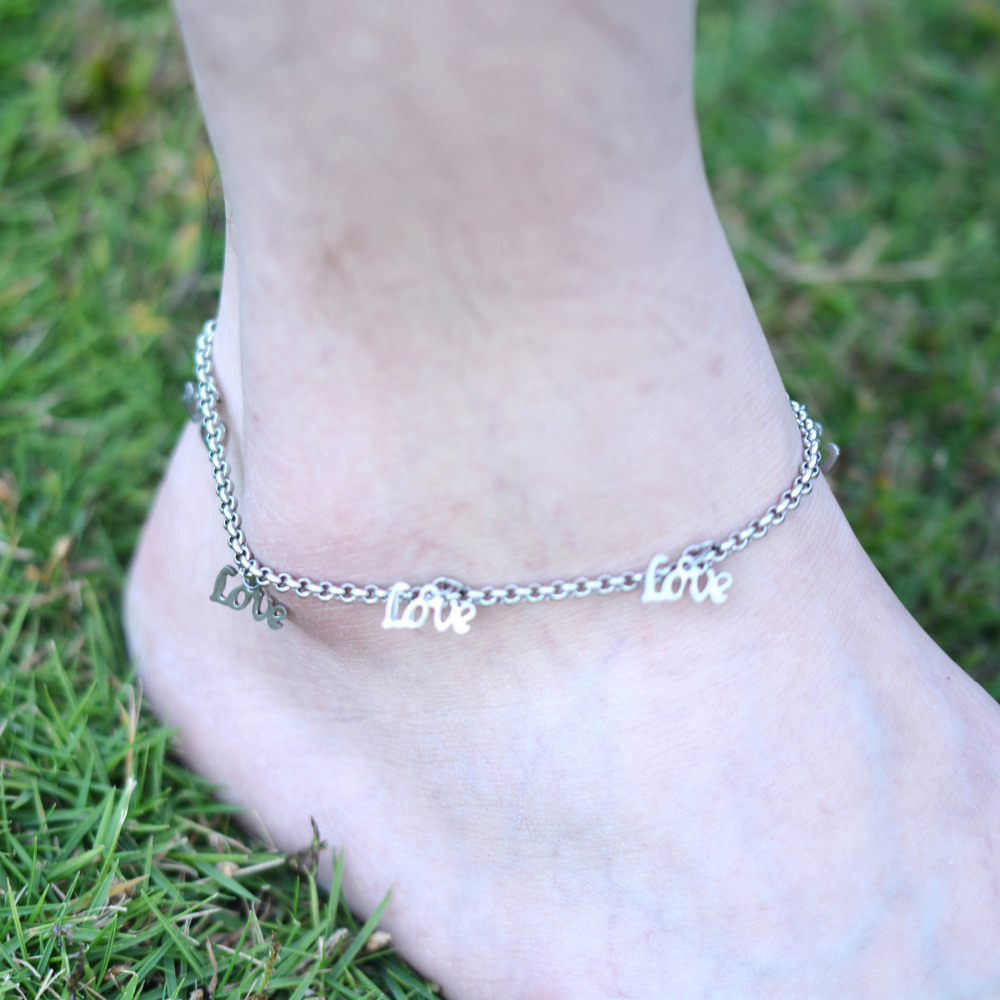 DIY 316L Stainless Steel Anklet Chain with Small Love Charms Stainless Steel Ankle Bracelet Foot font