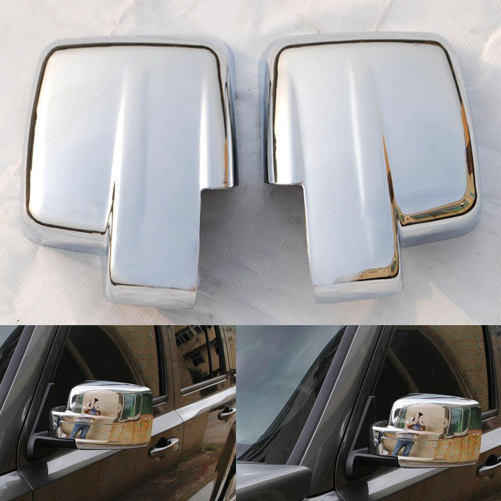 For 08-12  Jeep Liberty Chrome Door Mirror Covers Lid Trim Rear View Bezel Caps