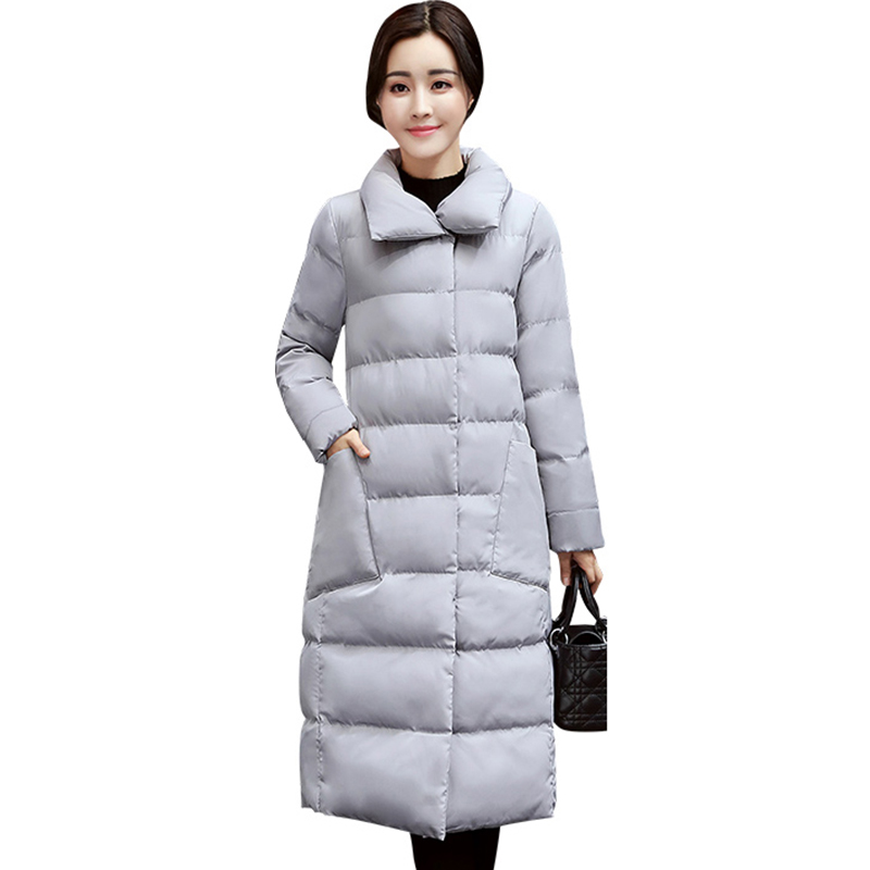 Women Coats Winter plus size Long Single-breasted Snap Button Thickening outerwear 2017 Long warm Jacket slim cotton Coat QH0663