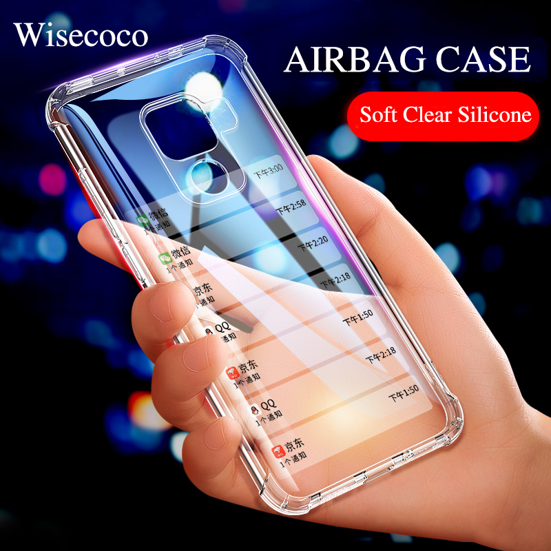 Soft Airbag Silicone Case for Huawei <font><b>Mate</b></font> <font><b>20</b></font> P30 P20 Pro <font><b>Lite</b></font> Transparent TPU Shockproof Bumper Cover Y6 2018 P Smart Y9 2019 image