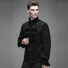 Steampunk Men Casual Shirt Gothic Style Fashion Novelty Single Breasted Chiffon Long Sleeve Male Shirt Black Clothing XXXL
