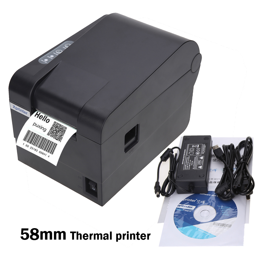 AC 100V-240V Mini Receipt Printer 58mm Thermal Bar Code Label Maker Clothing Label Print US Plug FW1S