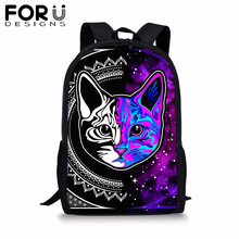 FORUDESIGNS Cartoon Colorful Cat Backpack for Student 3D Printing School Bag Baby Boy Kids Cute Bookbag Notebook 2019