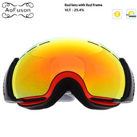 Snowboard Ski Goggles Double Layers Anti fog Lens Big Vision Photochromic UV400 Mask Winter Snow Snowmobile Skiing Eyewear Esqui