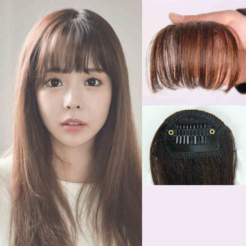 Short Fake Fringe Synthetic Bangs Hairpieces Hair Extension Women Natural Fake Hair Air Heat Resistant Styling Accessories
