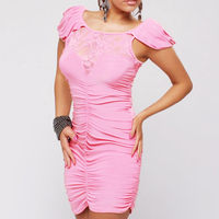 Groothandel Verstoorde Voor Roze Wit Hawaiian Jurk Boven Knie Korte Mouwen Zomer Casual Lace Vrouwen Mini Bodycon Jurken