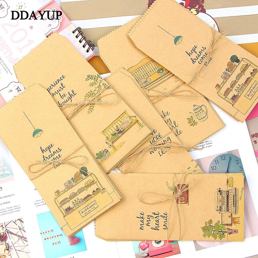 10Pcs/lot Kraft Paper Envelope Cute Cartoon Child Daily Left Wedding Invitation Gift Envelopes Letter Stationery