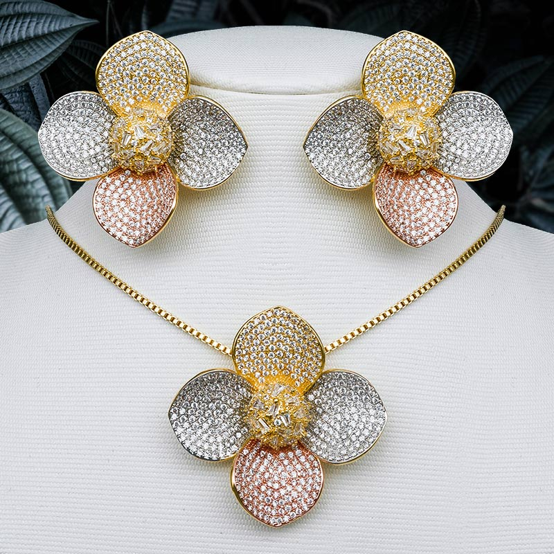 ModemAngel Luxury Flower Cubic Zirconia Paved 3Tone Copper Pendant Necklace And Earring Set For Women Engagement