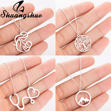 Shuangshuo Stainless Steel Pendants Necklaces For Women Jewelry Mom Long Necklace Choker Vintage Collier Femme collares(China)
