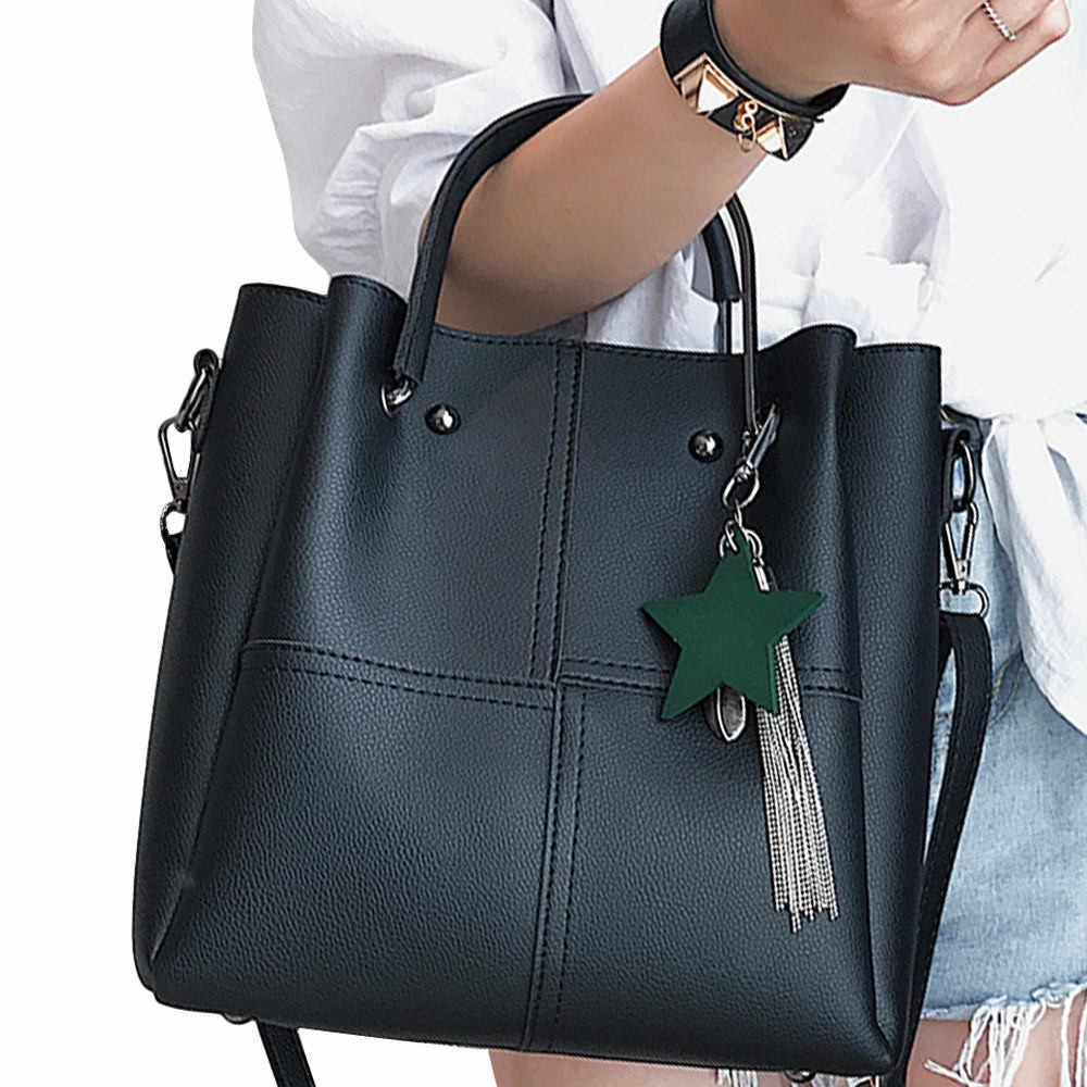 653abb6a9908 Aelicy luxury Women 2 pcs/set Handbags Female Tote Bag Tassel Women Solid  Shoulder Bags Women Messenger Bag bolsas feminina